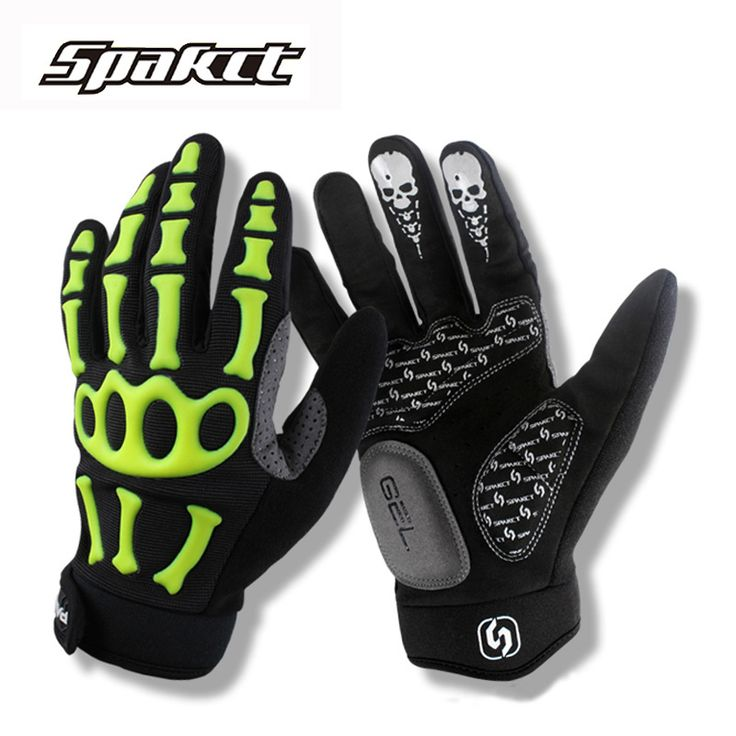 SPAKCT Skull Cycling Gloves Green White Gel Breathable Full Finger Mountain Road Bike Gloves Bicycle Gloves Guantes MTB Unisex #Affiliate