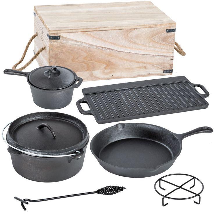 7 teiliges Dutch Oven Kochtopf Set aus Gusseisen in Holzkiste Pfanne Kessel in Garten & Terrasse, Grills, Öfen & Heizstrahler, Grillzubehör | eBay!