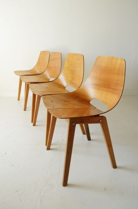 Pierre Guariche; 'Tonneau' Chairs for Steiner, c1954.