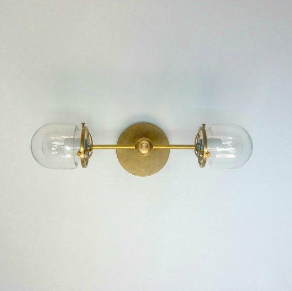 West End Flushmount - brass and glass ceiling fixture - modern lighting - brass lighting