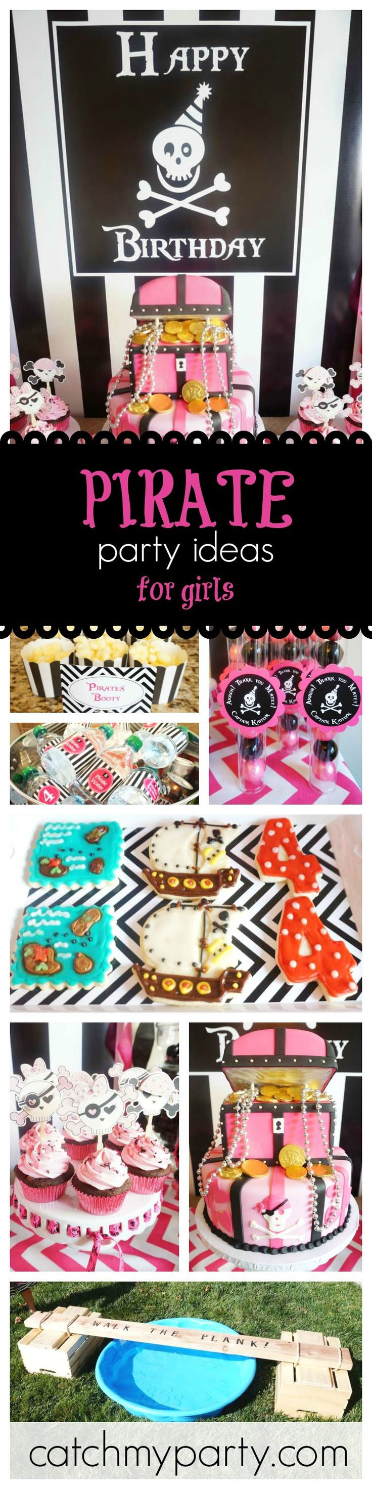 Arrgh! Girls are going to love this pink pirate birthday party. You won't want to miss it for party ideas. The pink treasure chest cake is so cool!! See more party ideas at CatchMyParty.com