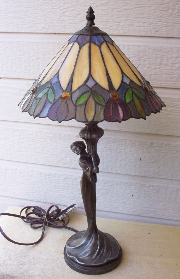 Figural lady stained glass table lamp