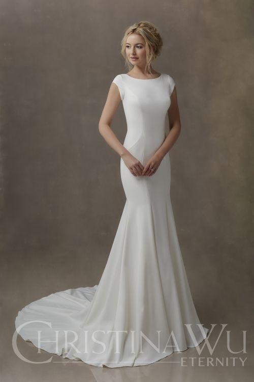 ce4c5d661d1a9 Modest Wedding Dress from Fantasy Bridal. Modest, minimal, crepe, fitted,  cap sleeves, bateau neckline, christina wu #weddingdress #utahbride  #utahbride ...