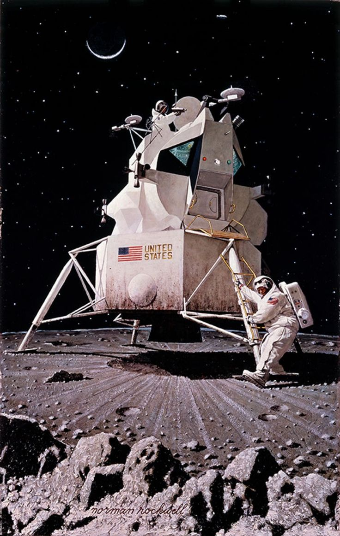 """Man on the Moon,"" 1967, by Norman Rockwell #liberatingtheastronauts #christinamrau #aqueductpress #poetry"