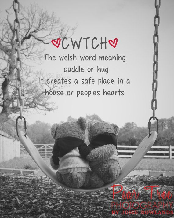 Welsh Word Cwtch With Teddies On Swing Fine Art Print 8x10 Postage Wordwide Free Postage in UK