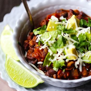 Smoky Black Bean Chili ~ 1T EVOO • 1 med Onion • 3 cloves Garlic • 1 can Chicken Broth • 3-15oz cans Black Beans • 2-15oz cans Rotell • 2 Chipotle Peppers in Adobo • 2t Cumin • 2t Chili Powder • 1t Oregano • Salt
