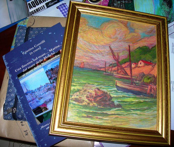 La copia di prova del catalogo della mostra accanto ad uno dei miei quadri...