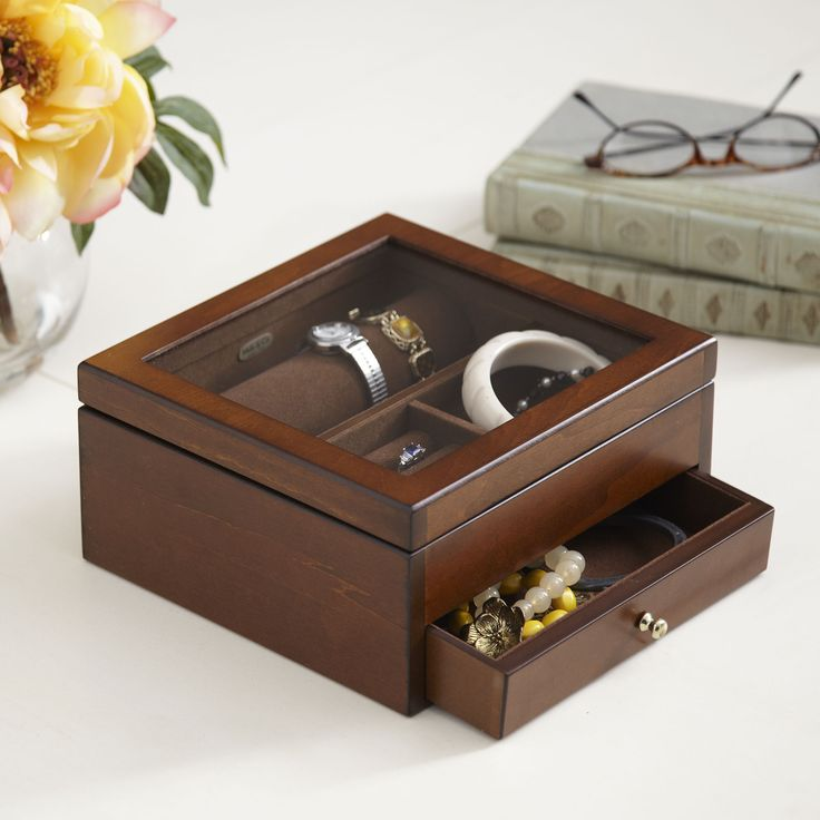 Wooden Drawer Jewelry Box | Store everyday jewelry and treasured pieces in this generously sized wooden jewelry box. A lidded top compartment has dividers and ring rolls, while lower drawers accomodate larger items.