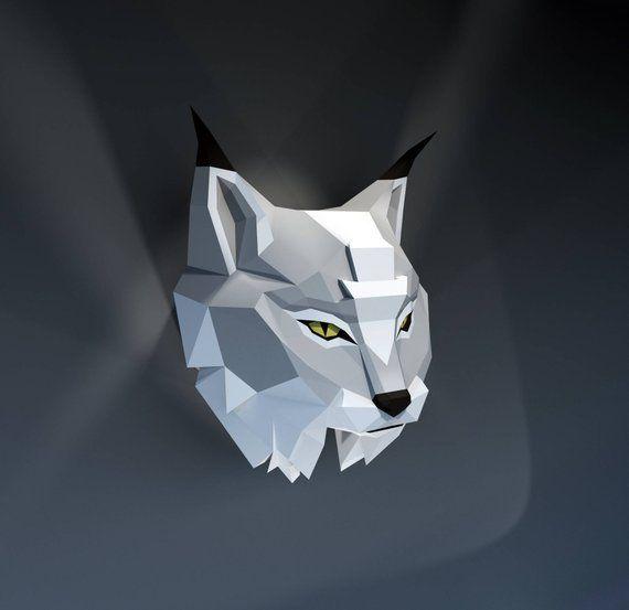 Lynx, paper lynx, 3D model, trophy lynx, wall, Papercraft, DIY