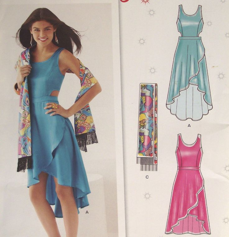 Sewing Pattern Summer Dress Shawl Sleeveless Asymmetrical