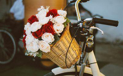 Scarica sfondi Rose rosse, rose bianche, basket, bel bouquet di rose