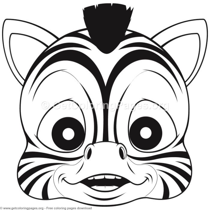 Zebra Animal Face Mask Coloring Pages Free Instant Download