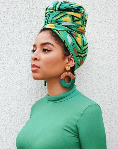 e7ea19443f3 20 Beautiful Head Wrap Styles You ll Love!! --  feeeeya on Instagram. --  green turban or head scarf. black girl magic queen. Melanin. African scarf.