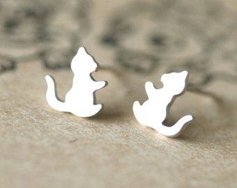 dierlijke karakter-oorbellen in zilver uil oorbellen door hueydewey