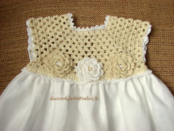 Linen crochet spring / summer dress for the baby girl by Dachuks