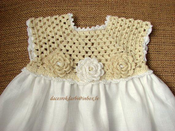 Linen  crochet spring / summer dress for the baby girl by Dachuks, $39.00