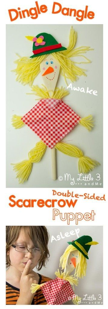 Make an easy no-sew Dingle Dangle Scarecrow Puppet to bring the song to life. He's a double sided puppet that sleeps and wakes for super interactive fun!