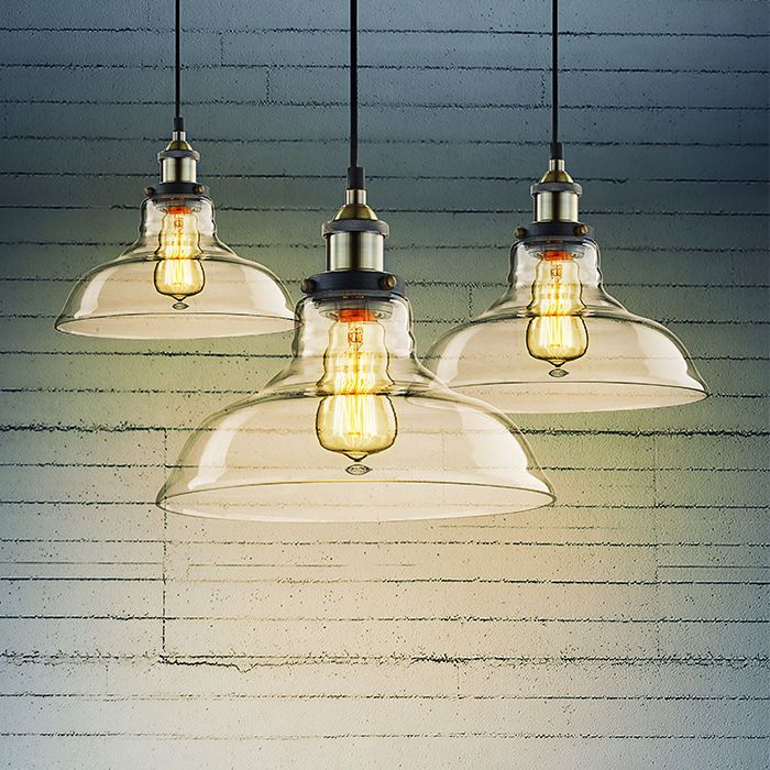 Vintage Industrial 28cm Ceiling Glass Lamp Cafe Pendant Light Kitchen Restaurant