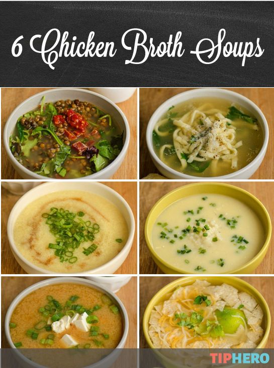 6 Chicken Broth Soup Recipes | Here are six great (healthy & economical, too!) soup recipes from Kitchn for when you need a little warmth. With chicken broth on hand, you can whip up a bean and sausage soup, egg drop soup, miso soup, noodle soup, rice and lemon soup or tortilla soup with minimal effort and maximum reward. #dinner