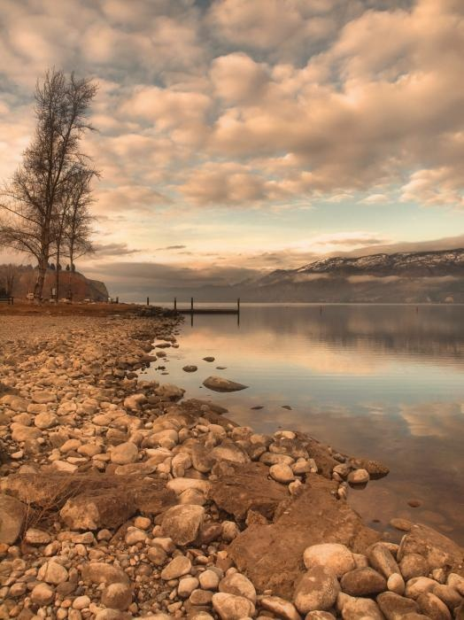 Clouds and Calmness - Peach Orchard Beach, Summerland BC Canada - Tara Turner