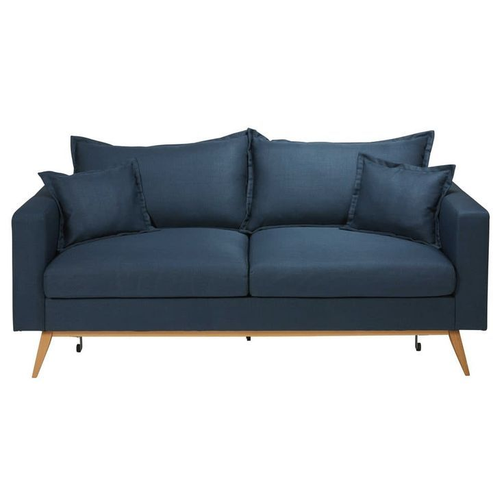 3 Seater Stretch Sofa With Night Blue Upholstery Night Seater Stretch Upholstery Sofa Fabric Sofa Sofa Bed