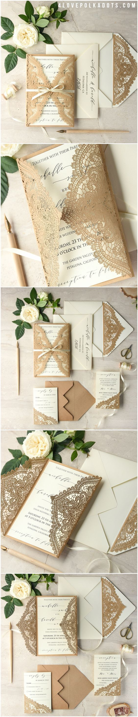 casual evening wedding invitation wording%0A Absolutely love this simplistic beige lace wedding invite with cream white  pages and simple white bow