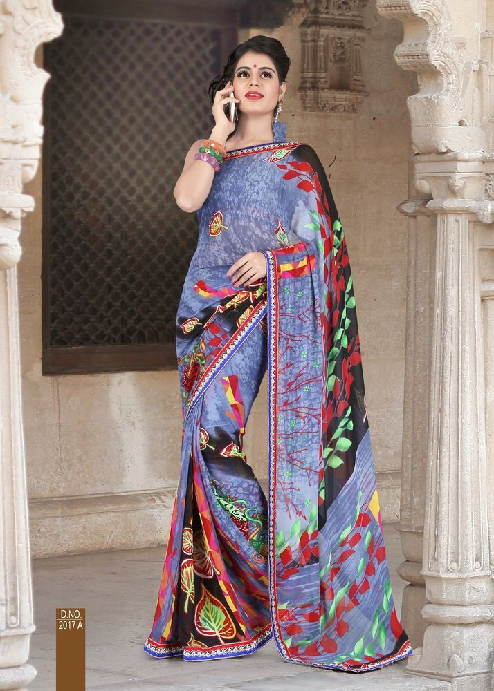 Grey coloured Floral Patli Printed Designer Saree with border