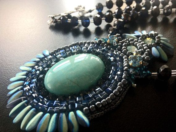 Handmade beaded necklace with semi precious cabochon by BYTWINS, €250.00