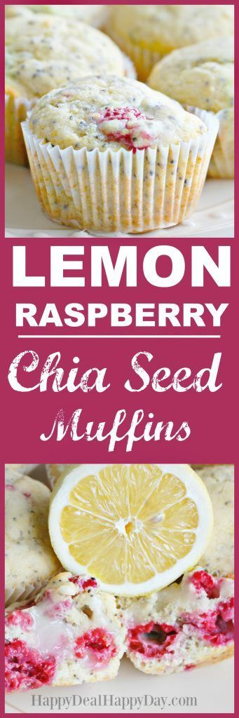 Lemon Raspberry Chia Seed Muffins - even better than any poppy seed muffin you have tried!