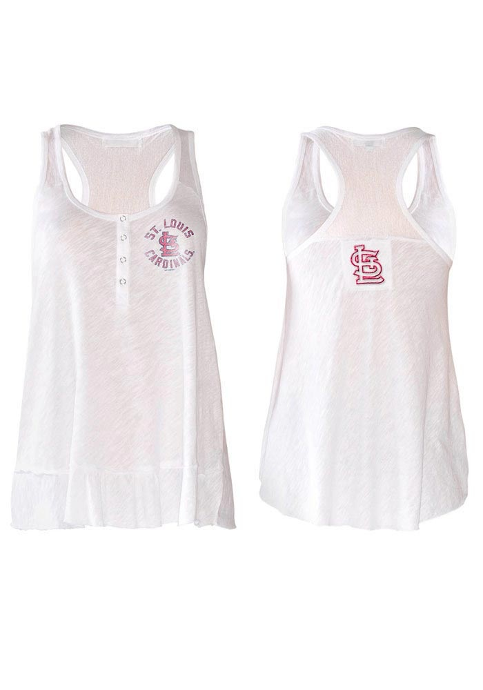 St. Louis (STL) Cardinals Women's Touch by Alyssa Milano White Henley Cascade Tank $34.99 www.rallyhouse.com