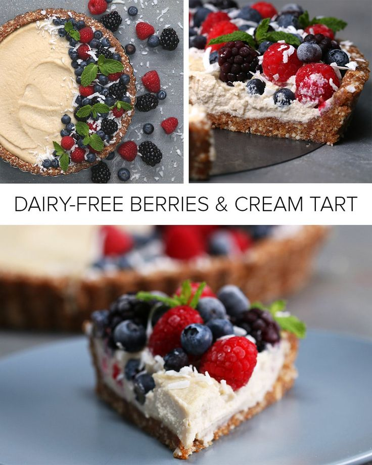 Servings: 6-8INGREDIENTSCrust1½ cups raw almonds1 cup fresh, soft medjool dates ½ teaspoon saltFilling1½ cups raw cashews, soaked in water overnight½ cup coconut milk ¼ cup maple syrup1 tablespoon coconut oil, melted1 teaspoon lemon juice2 teaspoon vanilla extractToppingRaspberries, to decorateBlueberries, to decorateBlackberries, to decorateMint, to decorateCoconut flakes, to decoratePREPARATION1. In the bowl of a food processor, add the almonds, dates, and salt, and pulse until the almonds…