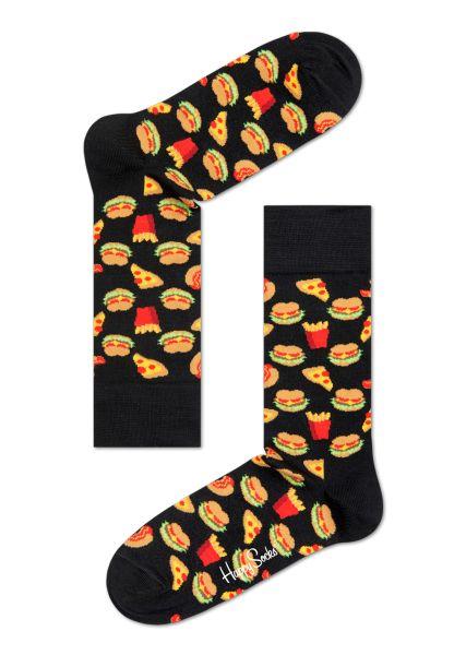 Special kule sokker i svart med gatekjøkkenmat-grafikk. Herre- og damesokker online.