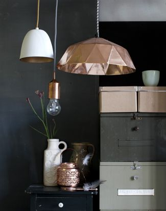 copper geometric lamp HKliving