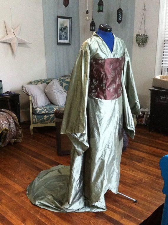 Wedding Dress Alternative silk kimono and corset by lorigami