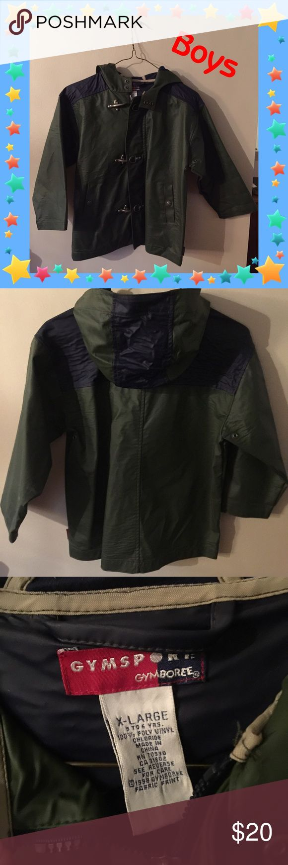 Gymboree Gymsport Raincoat EUC - no rips or stains, zipper/snaps/hooks all in working order. 100% poly vinyl. Size XL (5-6 yrs). Green and navy. Smoke free home. Gymboree Jackets & Coats Raincoats