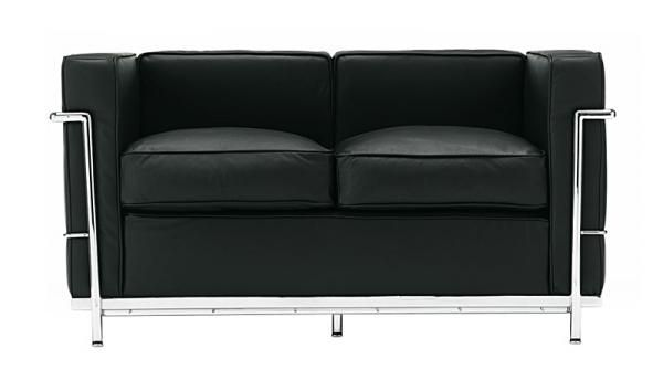 Le Corbusier ル・コルビジェ LC2 2P ブラック ラブソファ 本革 北欧 インテリア 雑貨 家具 Modern ¥99990yen 〆12月16日