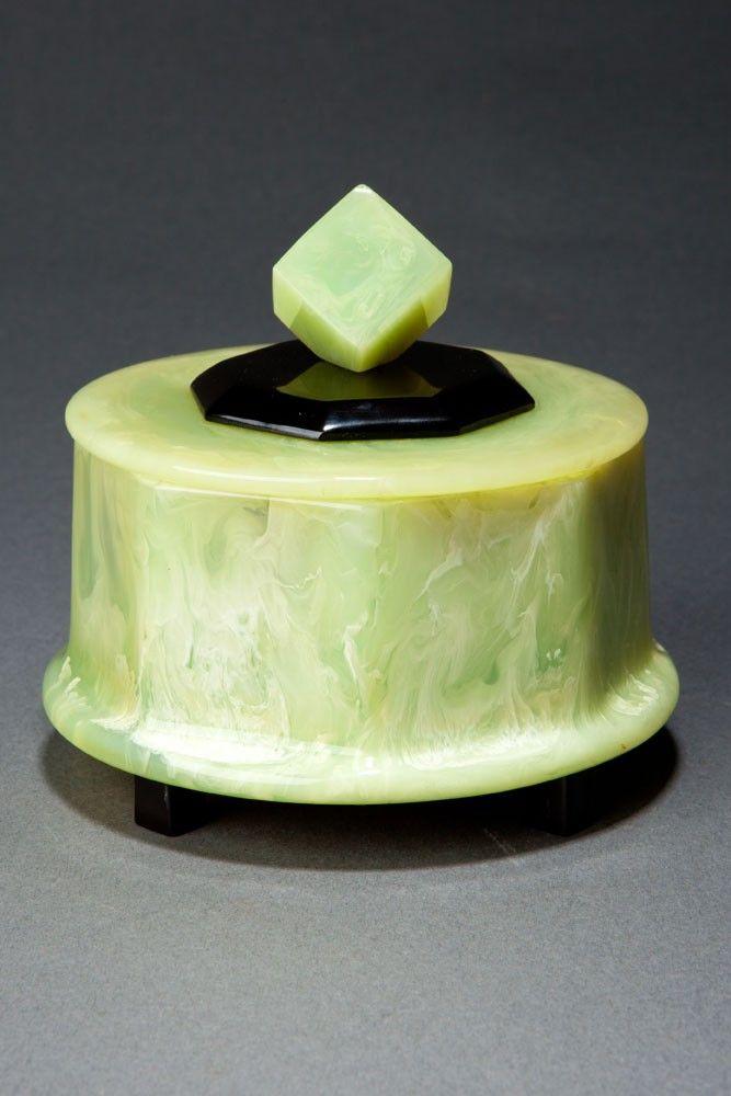 Rare Catalin Box with Cube Finial in Pistachio Green + Black