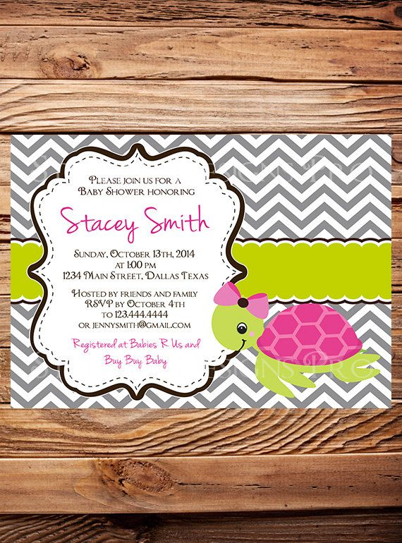 Sea Turtle Baby Shower Invitation, Baby Shower, Turtle, Pink, Blue, BOY, Girl, baby shower boy, girl (Item 5192)