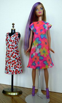 Make Barbie this easy aline dress. Finish it with a tiny bow on the front and in her ponytail if you want! I made the empire aline out of bright floral print (on Barbie). The other dress on the dre…