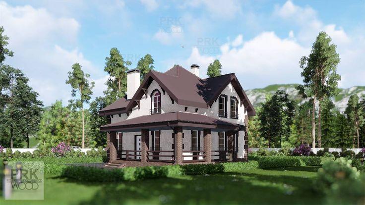 Дом двухэтажный с террасой для ценителей загородной жизни! Посмотрите этот проект на сайте, если планируете переезд в малоэтажную Россию!   Заказывайте проекты : 8-925-048-24-12  Viber/telegram/whatsapp WWW.PRKWOOD.RU