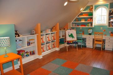 great use of the awkward bonus room slanted walls- Playroom - contemporary - kids