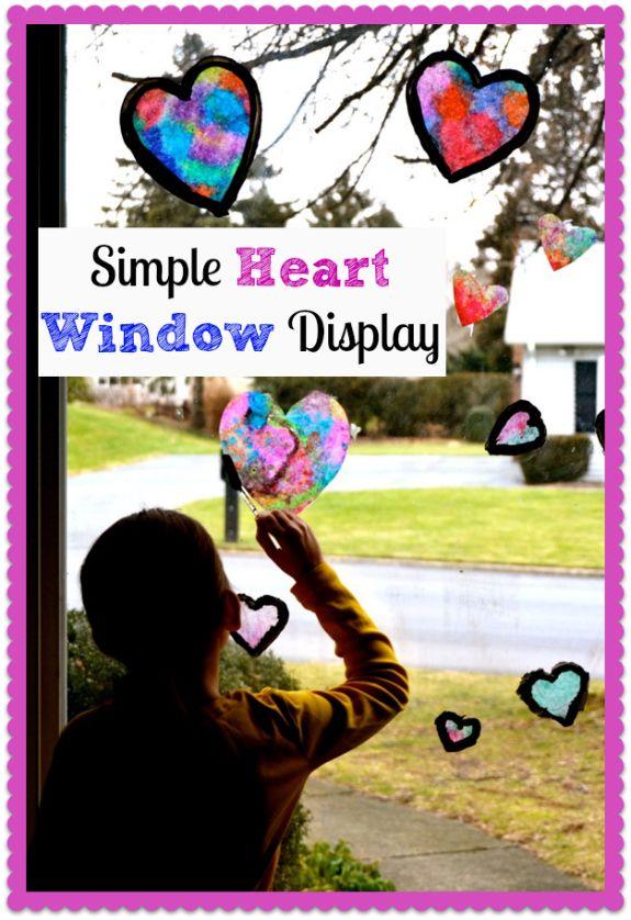 Quick Valentine's Day Craft -- Simple Heart Window Display