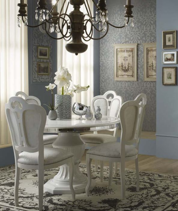 Geena White High Gloss Italian Made Round Dining Table and Chairs