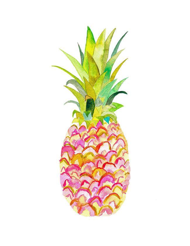 Pink Pineapple Watercolor Print.  Pineapple Decor. by SnoogsAndWilde on Etsy https://www.etsy.com/listing/197644849/pink-pineapple-watercolor-print