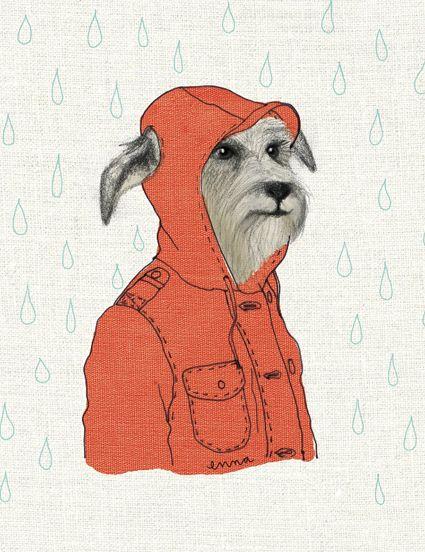 """Klappkarte """"Hund im Anorak"""" von enna shop"""