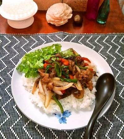 牛肉とコリアンダーのエスニックジンジャー炒め&ライス ~ ご飯がすすむ♪