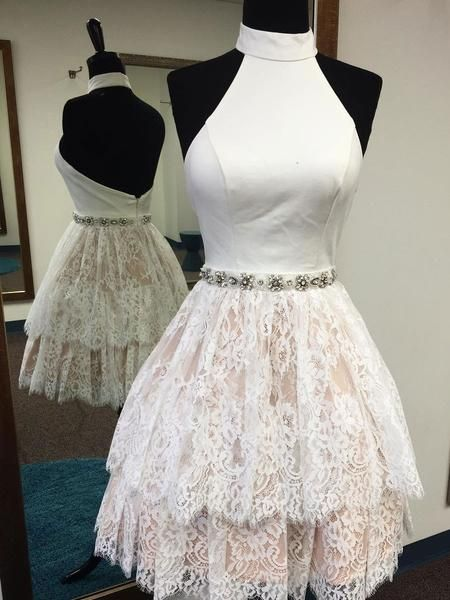 A-Line Halter Rhinestone Homecoming Dresses Little Lace Dresses APD2697 lace homecoming dresses, halter neck homecoming dresses,rhinestone dresses.