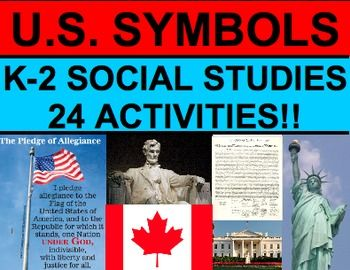 U.S. SYMBOLS: Aligned with K-2 social studies standards. Use for any age - interactive notebooks or writing centersl! Contains everything you need to teach young students U.S. Symbols + Canadian Symbols! State Flags - American Flag - Canadian Flag - Bald Eagle - Canadian Goose - Statue of Liberty - My Country 'Tis of Thee - Pledge of Allegiance - Star Spangled Banner - U.S. Constitution - Declaration of Independence & MORE!! #ussymbolsfirstgrade #ussymbolskindergarten #ussymbolsactivities