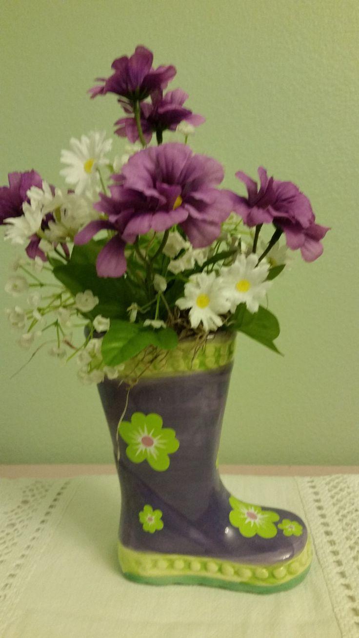 Silk Flower Arrangment, Purple Flower Arrangement, Spring Arrangement, Mother's Day Arrangment, by KatsFloralandGifts on Etsy