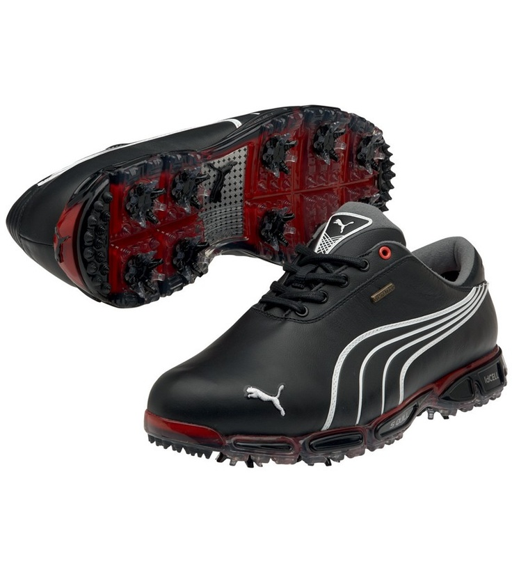 PUMA GOLF SHOES SUPER CELL FUSION 3 PRO BLACK/WHITE/FIERY RED - SPRING